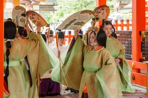 Kagura dancers at Taue-sai at Fushimi Inari Taisha.