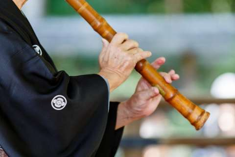Shakuhachi is performed at the 2013 Hagi Matsuri at Nashinoki Shrine.