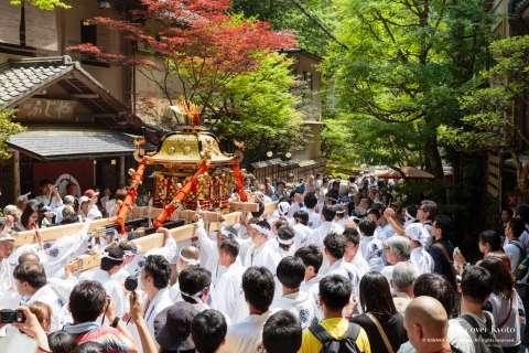 Crowds watch during Kifune Matsuri at Kifune Shrine.