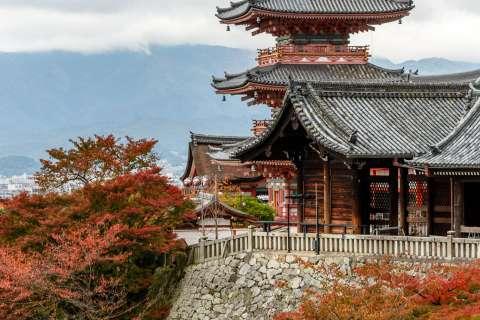 Pagoda and autumn leaves at Kiyomizu-dera.