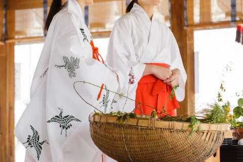 Blessings performed during the 2015 Yasurai Matsuri at Imamiya Shrine.