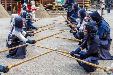 Kendō participants prepare during Kigen-sai at Kamigamo Shrine.